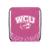 Nylon Pink Bubble Patterned Drawstring Backpack-WCU w/Head