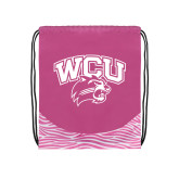 Nylon Zebra Pink/White Patterned Drawstring Backpack-WCU w/Head
