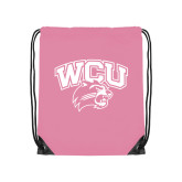 Nylon Light Pink Drawstring Backpack-WCU w/Head
