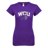 Next Level Ladies SoftStyle Junior Fitted Purple Tee-WCU w/Head