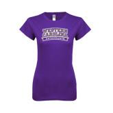 Next Level Ladies SoftStyle Junior Fitted Purple Tee-Western Carolina Catamounts