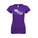 Next Level Ladies SoftStyle Junior Fitted Purple Tee-WCU