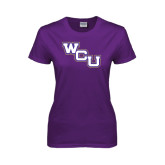 Ladies Purple T Shirt-WCU