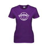 Ladies Purple T Shirt-Basketball Ball Design