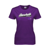Ladies Purple T Shirt-Baseball Script w/ Bat Design