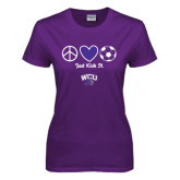 Ladies Purple T Shirt-Just Kick It Soccer Design
