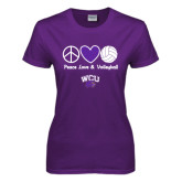 Ladies Purple T Shirt-Peace Love and Volleyball Design