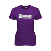Ladies Purple T Shirt-Softball Script Design