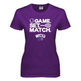 Ladies Purple T Shirt-Game Set Match Tennis Design
