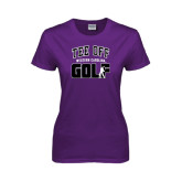Ladies Purple T Shirt-Tee Off Golf Design