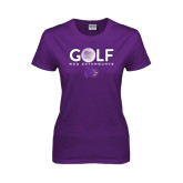 Ladies Purple T Shirt-Golf Ball Design