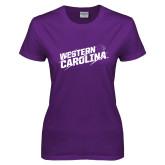 Ladies Purple T Shirt-Western Carolina Slashes