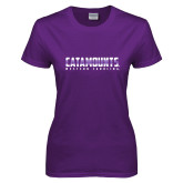 Ladies Purple T Shirt-Catamounts Gradient