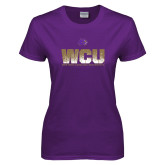 Ladies Purple T Shirt-WCU Splatter
