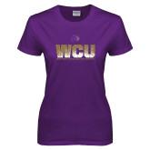 Ladies Purple T Shirt-WCU Splatter
