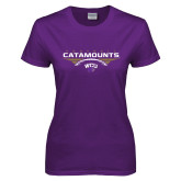 Ladies Purple T Shirt-Football Abstract Ball