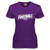 Ladies Purple T Shirt-Football Fancy Lines