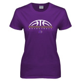 Ladies Purple T Shirt-Basketball Half Ball