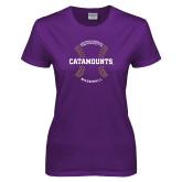 Ladies Purple T Shirt-Baseball Seams Design