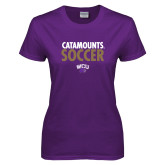Ladies Purple T Shirt-Soccer Stacked