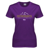 Ladies Purple T Shirt-Abstract Volleyball
