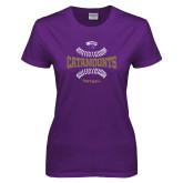 Ladies Purple T Shirt-Softball Seams Design