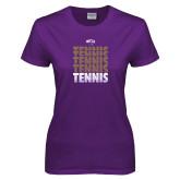 Ladies Purple T Shirt-Tennis Repeating