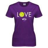 Ladies Purple T Shirt-Love Tennis