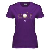 Ladies Purple T Shirt-Golf Flag Design