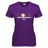 Ladies Purple T Shirt-Golf Lines Design