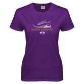Ladies Purple T Shirt-Cross Country Shoe Design