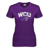Ladies Purple T Shirt-WCU w/Head