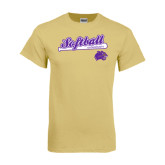 Champion Vegas Gold T Shirt-Softball Script w/ Bat Design