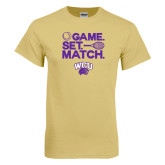 Champion Vegas Gold T Shirt-Game Set Match Tennis Design