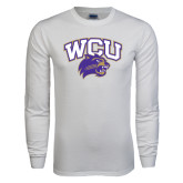 White Long Sleeve T Shirt-WCU w/Head