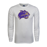 White Long Sleeve T Shirt-Catamount Head