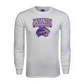 White Long Sleeve T Shirt-Western Carolina Catamounts Stacked
