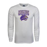 White Long Sleeve T Shirt-Western Carolina Catamounts Stacked