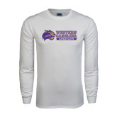 White Long Sleeve T Shirt-Western Carolina Catamounts Side Logo