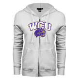 ENZA Ladies White Fleece Full Zip Hoodie-WCU w/Head
