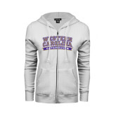 ENZA Ladies White Fleece Full Zip Hoodie-Western Carolina Catamounts