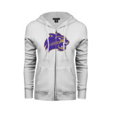 ENZA Ladies White Fleece Full Zip Hoodie-Catamount Head