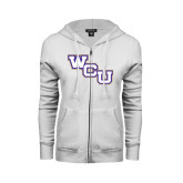 ENZA Ladies White Fleece Full Zip Hoodie-WCU