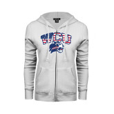 ENZA Ladies White Fleece Full Zip Hoodie-Stars and Stripes