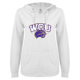 ENZA Ladies White V Notch Raw Edge Fleece Hoodie-WCU w/Head