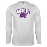 Performance White Longsleeve Shirt-WCU w/Head
