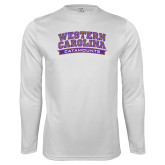 Performance White Longsleeve Shirt-Western Carolina Catamounts