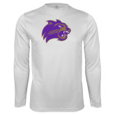 Performance White Longsleeve Shirt-Catamount Head