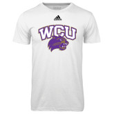 Adidas Climalite White Ultimate Performance Tee-WCU w/Head