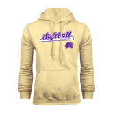Champion Vegas Gold Fleece Hood-Softball Script w/ Bat Design